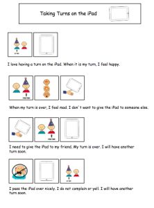 Taking Turns on the iPad Social Story by theautismhelper.com