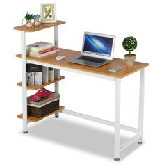 Yaheetech Wood Corner Computer Desk PC Laptop Table Workstation with 4 Tiers Shelves (Brown), Size: 2 x 19 Wood Computer Desk, Computer Workstation, Office Workstations, Pc Desk, Home Office Desks, 4 Tier Shelf, Table Pc, Laptop Table, Diy Home Decor Bedroom