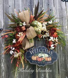 Floral wreath, Grapevine wreath, welcome wreath, fall wreath Christmas Mesh Wreaths, Thanksgiving Wreaths, Autumn Wreaths, Deco Mesh Wreaths, Thanksgiving Decorations, Wreath Fall, Door Wreaths, Grapevine Wreath, Tulle Wreath