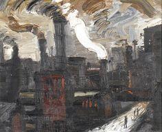 Theodore Major (1908-1999), Industrial Landscape, Oil on board, 29.5x36 cm