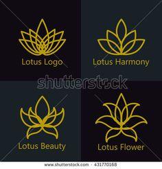 Lotus flower logo assorted icons set. Vector illustration.