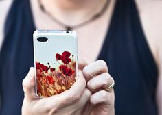 Floral case, iPhone 4 case, plastic case, red poppy cell phone case, Remembrance Day, holiday fashion, women, under 50. $30.00, via Etsy.