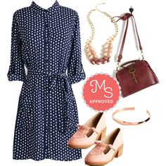 In this outfit: Case of the Classics Dress, Berry Good Harvest Necklace, Keystone State of Mind Bag, Amour the Way Bracelet, Retro 'Em What You Got Heel #polkadots #workwear #chic #professional #style #outfits #shirtdress #fall #ModCloth #ModStylist #fashion