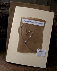 1st Wedding Anniversary Card with Paper with