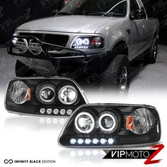 1997-2003 Ford F150 Lobo Black Halo LED DRL Projector Headlight 97-02 Expedition #VIPMOTOZ