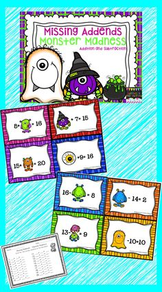 Teach students the basics of addends, missing addends ,and using the unknown addend to solve addition and subtraction problems with this set cute monster themed cards. These problems go up to the sum of 20. You can pick which ones work best for your students levels.  This set includes 2 sets of cards 1st set - addition problems to 20 2nd set- Subtraction from 20
