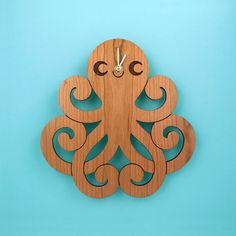 Wood Octopus Wall Clock Kids Ocean Nursery by graphicspaceswood, $45.00