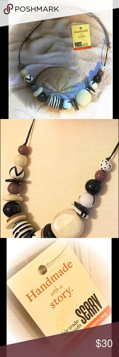 NWT ~ Handmade with a Story NWT ~ Handmade with a Story comes to us from a non profit organization. Each item has a story to tell.  I've decided to let go of this beautiful piece because my jewelry box is getting a bit full. The perfect necklace for anyone who loves wearing the neutral color family.  Ceramic beads of beiges and black. On a black adjustable cord so the length will fall perfectly where you want it.  Trades️️ Make a reasonable offer! Fair Trade Jewelry Necklaces
