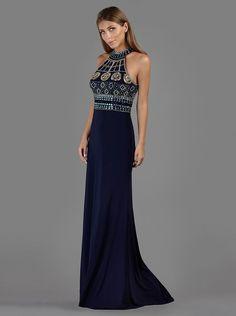 Βραδινό μακρύ φόρεμα με κεντημένο μπούστο και άνοιγμα στην πλάτη - Βραδυνά Φορέματα
