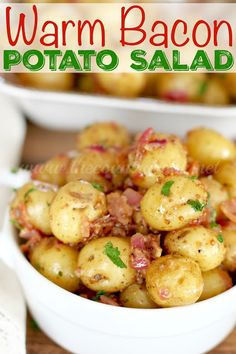 This German warm potato salad inspiration has been amped up with bacon, and the Creamer potatoes cook in five minutes! Perfect for a quick lunch. Potato Salad Recipe Easy, Easy Potato Recipes, Side Dish Recipes, Soup Recipes, Salad Recipes, Cooking Recipes, Side Dishes, Recipies, Bacon Recipes