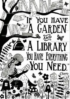 Garden Library ~ Cicero quote ~ a personalised and enhanced, high quality…