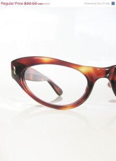 1b5a40f2de8 RESERVED SALE Vintage 1950s Eyeglasses Cat Eye Glasses 50s Sunglasses Mod  Mad Men Chic Chocolate Tortoiseshell Nos New Old Stock