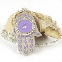 Hamsa Necklace Silver Light purple Lilac color by SigalitAlcalai #opieurocentrale #youresuchabudapest