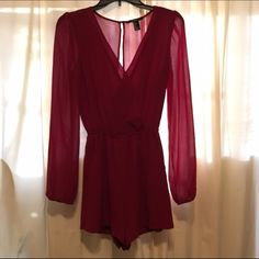 F21 surplice romper Chiffon surplice romper, open back. Color: wine. Used once, like new. 2nd photo: back and closure❗️no trades❗️ Forever 21 Tops