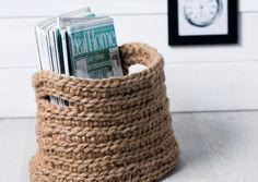Tee virkattu lehtikori   Meillä kotona Easy Crafts, Easy Diy, Arts And Crafts, Korn, Mason Jar Diy, Diy Home Decor, Projects To Try, Basket, Ikea Hacks