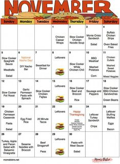 November Menu Plan with Thanksgiving Menu - Meal Planner with Grocery List and Recipes - Monthly Meal Plan - Weekly Meal Plan - Always know whats for dinner with Novembers menu plan. This kid-friendly menu is all ready for you. Monthly Menu, Monthly Meal Planning, Family Meal Planning, Planning Budget, Weekly Menu, Meal Planner, Menu Planning, Family Meals, Kids Meals
