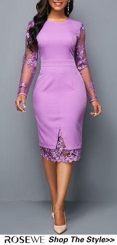 Long Sleeve Purple Zipper Back Lace Panel Sleeve Round Neck Sheath Dress Opciones African Attire, African Fashion Dresses, African Dress, Business Casual Dresses, Trendy Dresses, Sexy Dresses, I Dress, Sheath Dress, Lace Dress