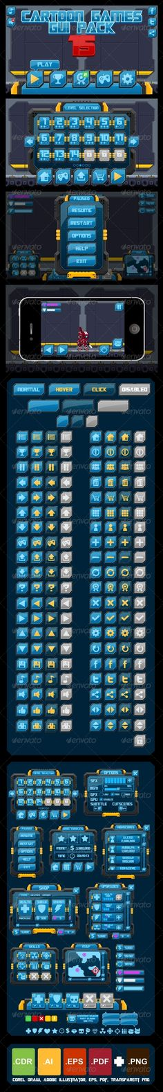 A complete set of graphical user interface (GUI) to build 2D video games.  With techno & futuristic theme. Suitable for action, space shooter, outer space, alien, robot, mecha, star war, sci-fi, and other similar games.  #game #asset #gui #pack #techno #robot #button #icon
