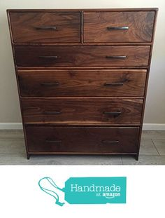 Walnut Dresser - Mid Century Modern Dresser from Guice Woodworks http://www.amazon.com/dp/B016CYTNVY/ref=hnd_sw_r_pi_dp_sv8fwb1DD1C65 #handmadeatamazon