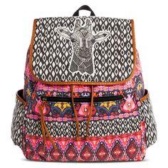 Women's Geometric and Giraffe Print Backpack Handbag - Black