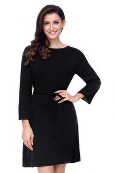 8caec028835 Black Off The Shoulder Knit Sweater Dress