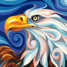 Eagle Bald Eagle Painting by Christine KarronBald Eagle Painting by Christine Karron Art And Illustration, Colorful Animal Paintings, Abstract Animal Art, Fine Art Amerika, Eagle Drawing, Eagle Painting, Art Watercolor, Guache, Indigenous Art