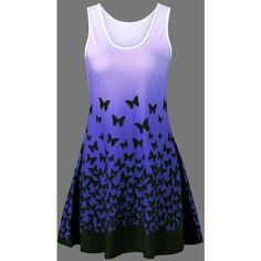 Butterfly Print Ombre Casual A Line Short Tank Dress ($16) ❤ liked on Polyvore featuring dresses, short dresses, short blue dress, butterfly print dresses, tank dresses and short tank dress