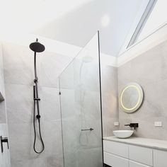 WOW The natural light against our Shale Moon in this bathroom is just DIVINE!! Another great shot of this project by @stewartlevy.carpentry with tiles from @elegancetilesmoorabbin 😍 Grey Modern Bathrooms, Great Shots, Carpentry, Natural Light, Bathroom Lighting, Tiles, Bathtub, Moon, Projects