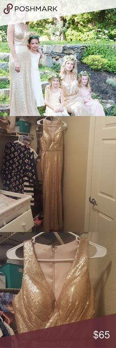Champagne Sequin Gown Perfect condition. **tag says size 8, but this dress runs small and would fit a size 4/6 much better** this dress is fully sequined, and fully lined so it's very comfortable. Plunging neckline with pleating, built in bra, and racer-back. This dress is tight on top, form fitting in the hips and slightly flares at the knees. It has not been hemmed, it hits the floor on me at 5'10. Questions and offers are welcome Bari Jay Dresses Prom
