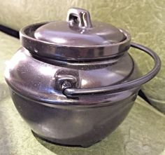 Vintage California Pottery Small Ceramic Black Bean Pot with Lid & Handle #CaliforniaPottery