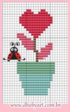 123 Cross Stitch, Cross Stitch Heart, Cross Stitch Flowers, Cross Stitch Designs, Cross Stitch Patterns, Beading Patterns, Crochet Patterns, Hama Beads, Cross Stitching