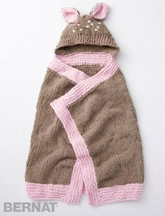 Okay, this Oh Deer Baby Blanket is too cute, even for us. We love the cute little pink lining and the adorable specked hood. If you knit anything for a baby shower this year, this has to be it.