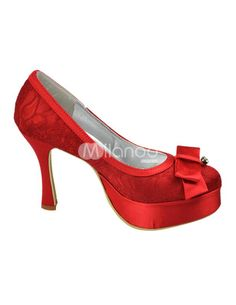 Red Platform Bow Round Toe Lace Bridal Wedding Shoes. See More Bridal Shoes at http://www.ourgreatshop.com/Bridal-Shoes-C919.aspx
