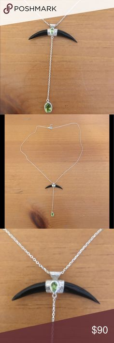 OOAK, silver, black and green topaz necklace One of a kind sterling silver necklace with black horn and green topaz accents, necklace itself is 19 inches and pendant drops from horn to topaz gemstone is 3 inches long, bought in Bali from the artist herself. Only worn once Jewelry Necklaces