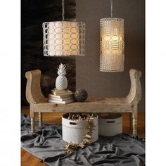 White Drum Oval Ring Lamp