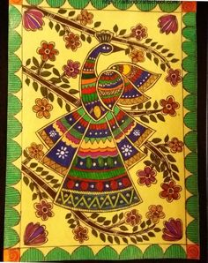 Gond painting pins) ~ a form of Indian folk and tribal art named after the largest tribe of central India. The belief system of these people sees rivers, hills, rocks and trees as sacred. Madhubani Paintings Peacock, Kalamkari Painting, Peacock Painting, Madhubani Art, Peacock Art, Indian Art Paintings, Peacock Design, Nature Paintings, Gond Painting