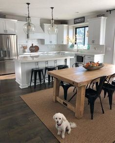 There is no question that designing a new kitchen layout for a large kitchen is much easier than for a small kitchen. A large kitchen provides a designer with adequate space to incorporate many convenient kitchen accessories such as wall ovens, raised. Home Decor Kitchen, Diy Kitchen, Kitchen Dining, Kitchen Ideas, Kitchen Cabinets, Awesome Kitchen, Kitchen Trends, Island Kitchen, Kitchen Hacks