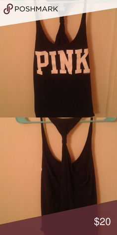Tank top Blank tank top with white letters PINK Victoria's Secret Tops Tank Tops