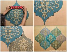 [orginial_title] – Royal Design Studio Stencils How to Stencil: Moroccan Dreams Wall Art Wood Shapes DIY Tutorial that you can do yourself! How to hang stenciled Wall Art Wood Shapes for wall decor from Royal Design Studio Moroccan Wall Art, Morrocan Decor, Moroccan Design, Moroccan Stencil, Moroccan Arabic, Stencil Wall Art, Art Mural, Damask Stencil, Wall Stenciling