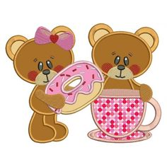 Boy and Girl Bear with a Doughnut Applique Machine Embroidery Digitized Design Pattern #valentines #embroidery #applique #doughnut