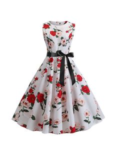 Beautiful fit and flare with ribbon belt to create a small waist. Fit and flare skirt with classic boat neck neckline. Feminine red and pink flower all over print. Pair it with some classic black or red pumps. Pin Up Dresses, Ball Gown Dresses, Cute Dresses, Casual Dresses, Dresses Online, Retro Vintage Dresses, Mode Vintage, Retro Dress, Vintage Clothing
