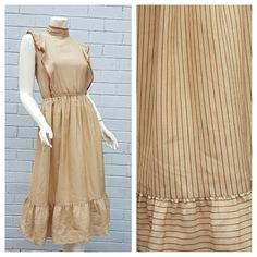 Vintage 1970s 'Mon Mirage' Label Boho Tan Mocha Stripe Print High Neck Frill Bodice Pleat Skirt Midi Dress Small