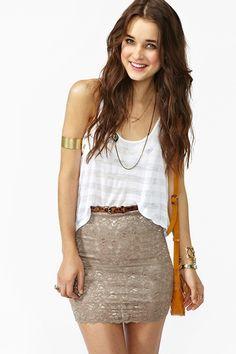 Scalloped Lace Skirt in Mocha...LOVEEE<3 !!