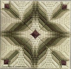 Vintage Needlepoint / Bargello embroidery 1970 Mounted ready to mat and frame Caning border Geometric design Flowers Rose Ivory White Broderie Bargello, Bargello Needlepoint, Bargello Quilts, Needlepoint Stitches, Needlework, Needlepoint Patterns, Embroidery Patterns, Stitch Patterns, Machine Embroidery