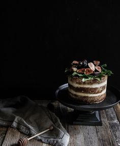 bbrown sugar honey cake with mascarpone whipped cream frosting and fresh figs recipe