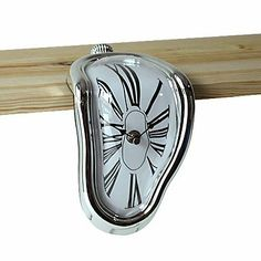 Amazon.com: RayShop - Novelty Melting Style Analog Shelf Clock (Assorted Colors, 1xAA) ( Color : Silver ): Sports & Outdoors