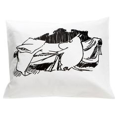Handsome black and white Moomin bedding pillow cover. Enjoy your cute and stylish pillow cover with Moomin. Jump in to the adventure! The Moomin bed linens are inspired by Tove Jansson's original drawings and are authentic ©Moomin Characters™ licensed products.