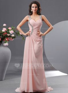 Evening Dresses - $144.49 - A-Line/Princess Sweetheart Sweep Train Chiffon Evening Dress With Ruffle Beading (017022730) http://jjshouse.com/A-Line-Princess-Sweetheart-Sweep-Train-Chiffon-Evening-Dress-With-Ruffle-Beading-017022730-g22730