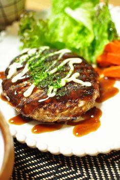 Japanese Okonomiyaki  Hamburger Steak お好み焼き風ハンバーグ