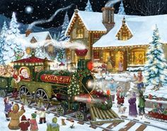 Whistle Stop Christmas Advent Calendar. Love the scene with the Rudolph train